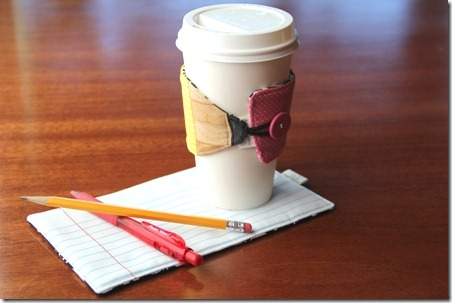 Pencil Coffee Cup Sleeve and Paper Mug Mat