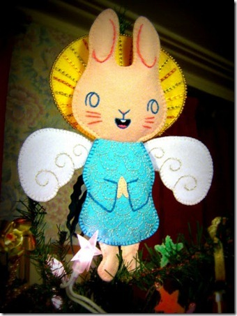 Angel Bunny on top of our Christmas Tree 2010-1