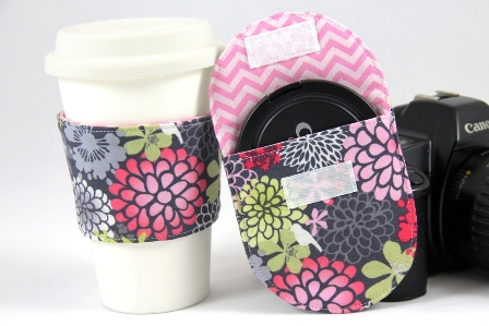 coffee sleeve and lens cap pocket - Crafty Staci