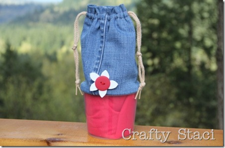 Yogurt Tub and Jeans Drawstring Bag - Crafty Staci 0