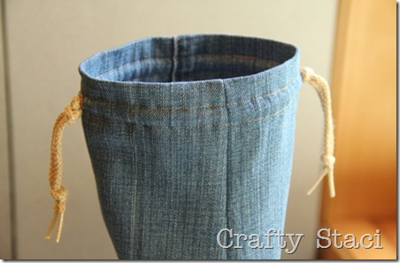 Yogurt Tub and Jeans Drawstring Bag - Crafty Staci 8