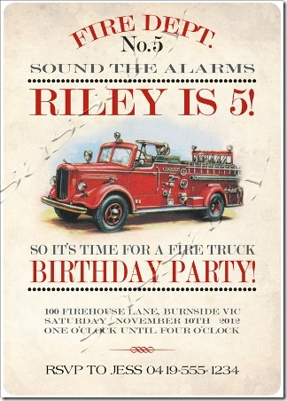 Fire truck invitation from Sassaby