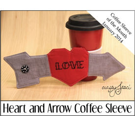 Heart and Arrow Coffee Sleeve - Crafty Staci