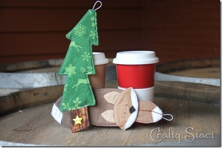Christmas Tree and Fox Coffee Sleeves - Crafty Staci