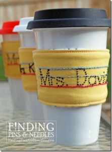 Pencil Coffee Sleeve Embroidery Pattern from Finding Pins and Needles