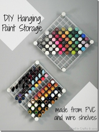 DIY Hanging Paint Storage by Mad in Crafts