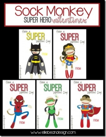 Sock Monkey Superhero Valentines by Over the Big Moon