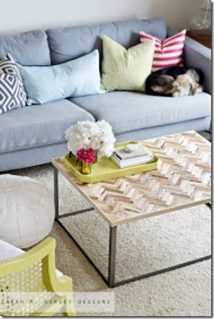 Herringbone Driftwood Table from Sarah M Dorsey Designs