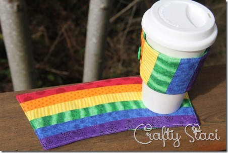 Rainbow Coffee Sleeve and Mug Mat - Crafty Staci