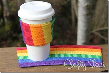 Rainbow Mug Mat and Coffee Sleeve - Crafty Staci