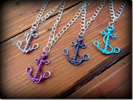 Wirework Anchor Necklaces from RefreshingDesigns on Etsy