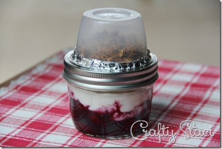 Greek Yogurt and Berries Parfait - Reuse applesauce container to hold the granola - Crafty Staci