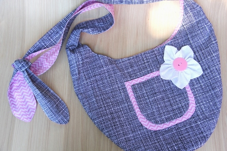 Black and White Crosshatch and Pink Sling Bag - CraftyStaci