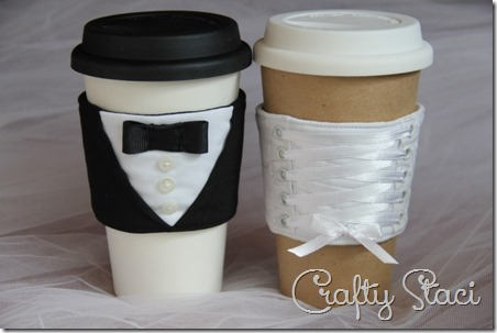 Bride and Groom Coffee Cup Sleeves - Crafty Staci 17