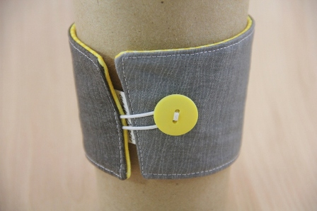 Grey and Yellow Coffee Cup Sleeve - CraftyStaci