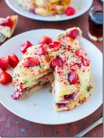 Strawberry and Sprinkles Pancakes by Averie Cooks