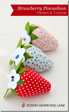 Strawberry Pincushions - Down Grapevine Lane