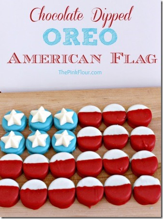Chocolate Dipped Oreo American Flag by The Pink Flour