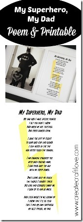 My Superhero My Dad Poem and Printable from Create Craft Love
