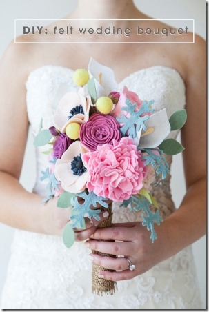 DIY Felt Wedding Bouquet from Something Turquoise