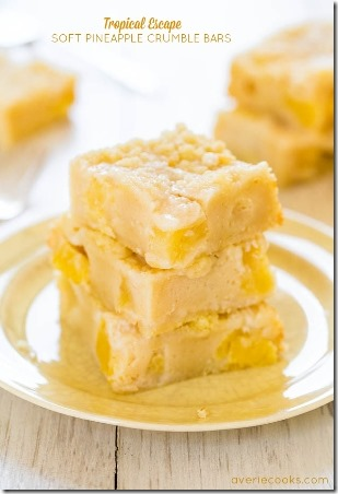 Soft Pineapple Crumble Bars by Averie Cooks