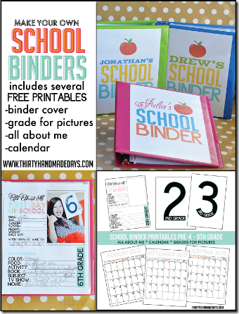 School Binder Printables from Thrity Handmade Days