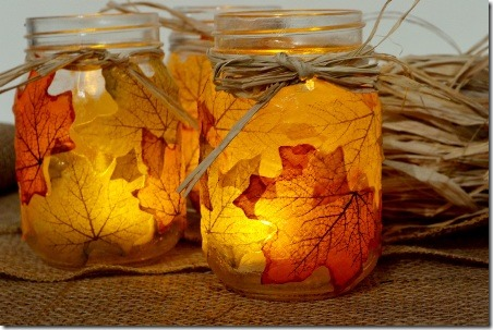 Leaf Mason Jar Candle Holder from Spark and Chemistry