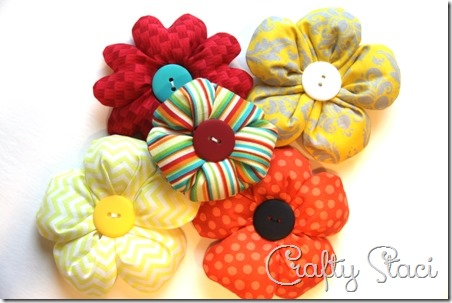 Puffy Fabric Flowers - Crafty Staci 12