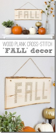 Wood Plank Cross-Stitch Fall Decor from Make It and Love It