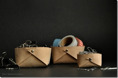 Folded Leather Basket by Between the Lines