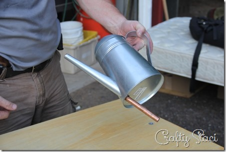 Galvanized Tub Sink and Watering Can Faucet - Crafty Staci 7