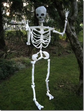 Halloween Skeleton Made of Plastic Shopping Bags by Curious Tangles on Instructables