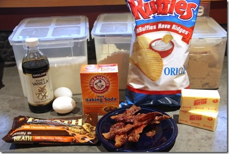 Bacon Toffee Potato Chip Cookies - ingredients