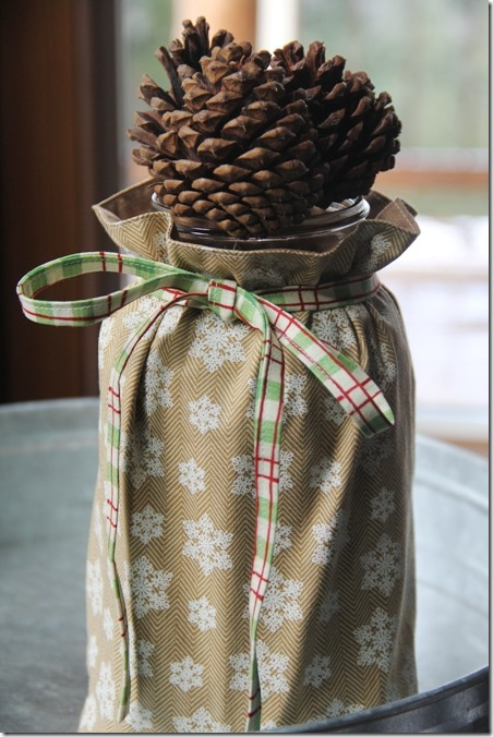 Fabric Mason Jar Vase Cover by Crafty Staci