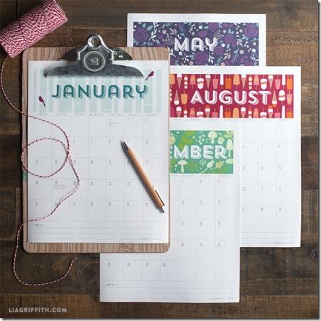 2015 Printable Calendar from Lia Griffith