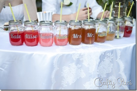 Drinking Jars on Sweetheart Table - Crafty Staci