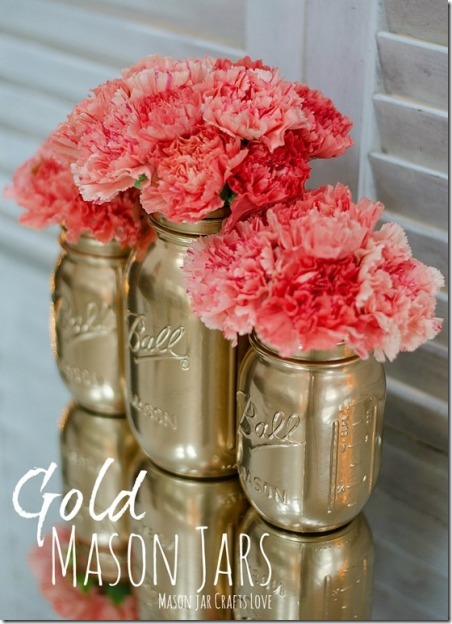 Gold Mason Jars by Mason Jar Crafts Love