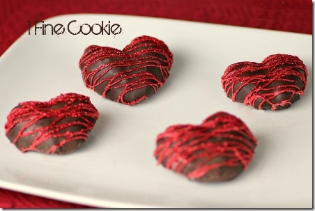 Chocolate Covered Strawberry Hearts from 1 Fine Cookie