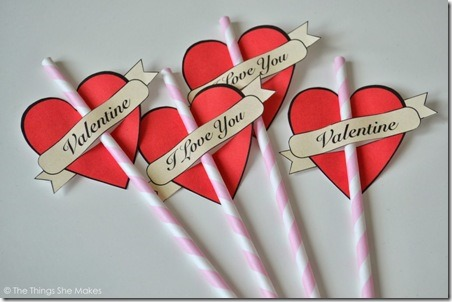 Valentine Heart Straws from The Things She Makes
