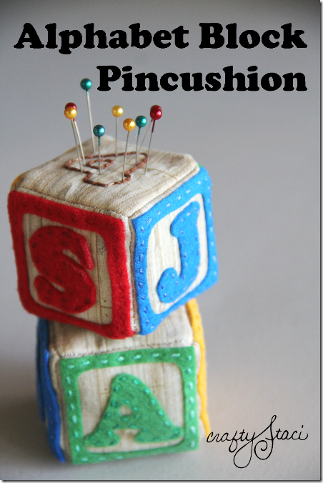 Alphabet Block Pincushion by Crafty Staci