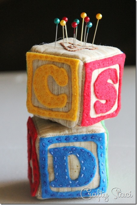 Alphabet Block Pincushion - Crafty Staci