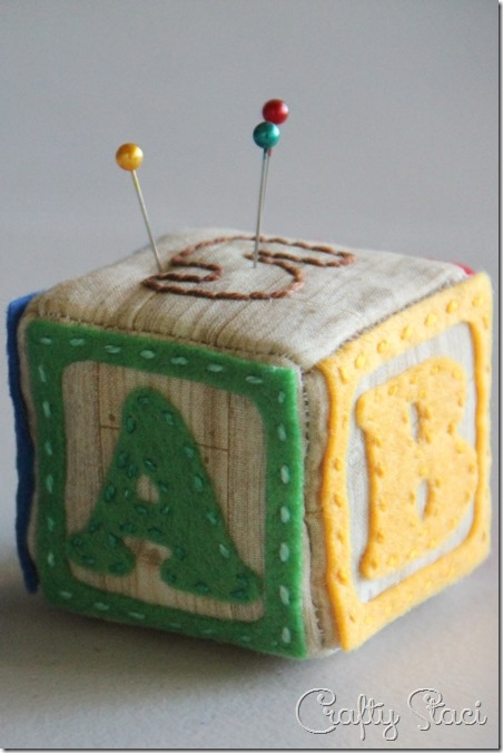 Alphabet Block Pincushion from Crafty Staci