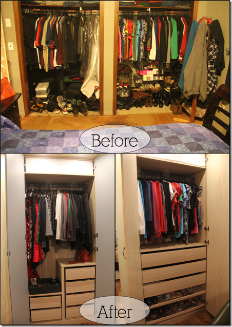 before and after - inside closet