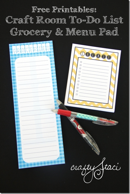 Free Printables - Craft Room To Do List or Grocery and Menu Pad from Crafty Staci