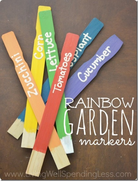 Rainbow Garden Markers from Living Well Spending Less