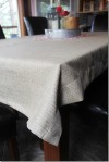 Tablecloth made from pieces left over after hemming store-bought curtains