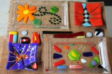 Glass fusing projects made at Aquila Glass School