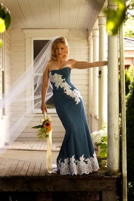 Denim and Lace Wedding Dress from BellaVittoria on Etsy