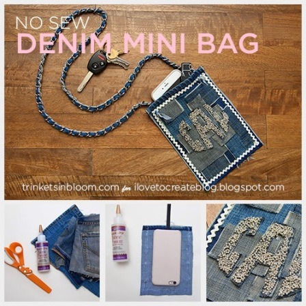 No Sew Denim Mini Bag from I Love to Create