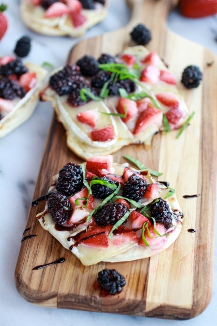 Grilled Blackberry Strawberry Basil and Brie Pizza Crisps from Half Baked Harvest